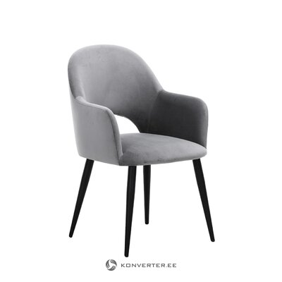 Harmaa-musta samettinen nojatuoli (rachel) (puutteilla hallinäyte)