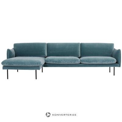 Blue velvet corner sofa (moby)