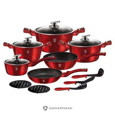 Набор посуды бордовый 15 предм. (Berlinger haus) (целый образец зала)