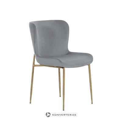 Pilka-auksinė aksominė kėdė (tess) (sveika pavyzdys)