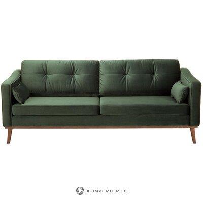 Tamsiai žalia aksominė sofa alva