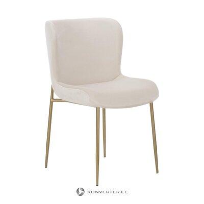 Бежево-золотой бархатный стул (тесс)