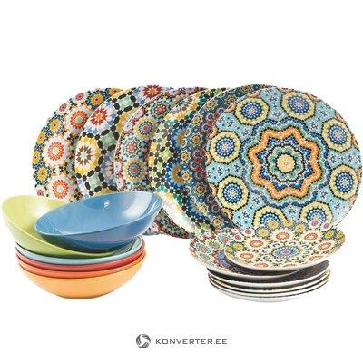 Värillinen keittiöastiasarja 18-osainen Marrakech (Galileo)