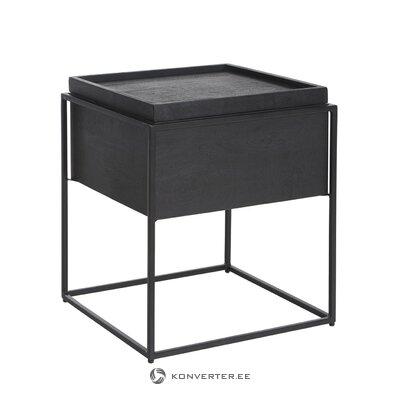 Melns masīvkoka kafijas galdiņš (theo)