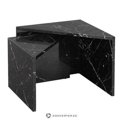 Sarja mustaa marmoria jäljitteleviä sohvapöytiä Vilmassa