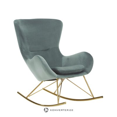 Green velvet rocking chair wing