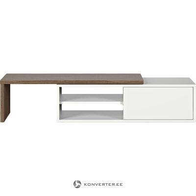 Ruskea ja valkoinen TV-kaappi (temahome)