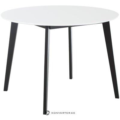 Balta-juoda pietų stalas (naminis šiaurinis) (su grožio defektais. Salės pavyzdys)