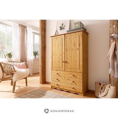 Большой коричневый массивный деревянный шкаф