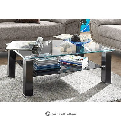 Black glass coffee table (with beauty defects, in box)