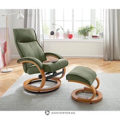 Green swivel armchair with stool (flower)