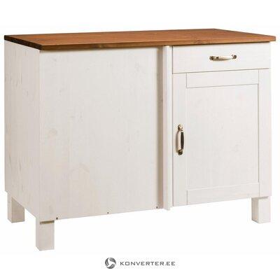 White-brown solid wood corner kitchen cabinet