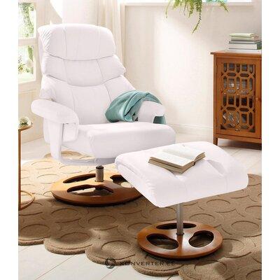 White leather swivel armchair (toulon)