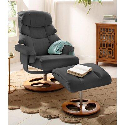 Кресло полностью кожаное серое (тулон)