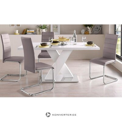 Set of white high-gloss dining table (160x90cm) + 4 gray leather chairs