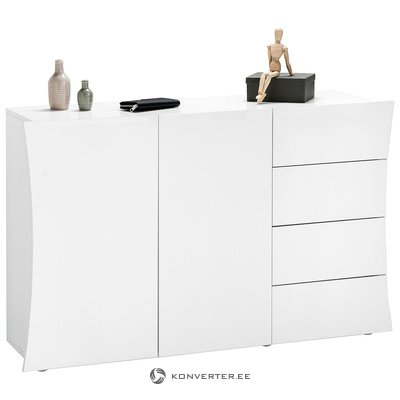 White high gloss chest of drawers (with beauty defects, in box)