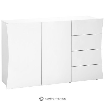 White high gloss chest of drawers (width 130cm) (with beauty defects, in box)