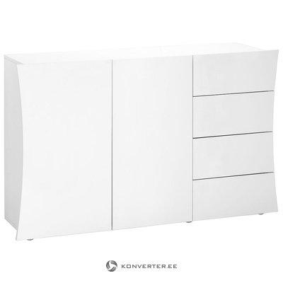 Balta, spīdīga kumode (platums 130cm) (vesela, kastē)