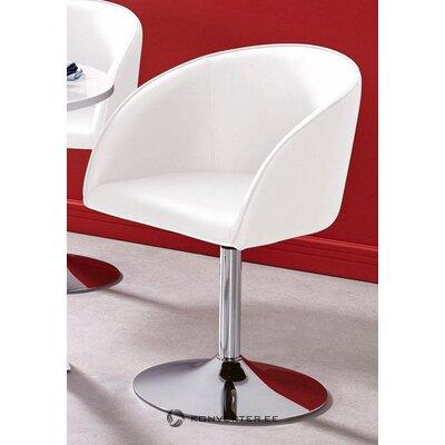 Balta odinė pasukama kėdė