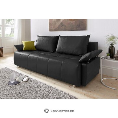 Brown leather sofa bed (hall sample, with beauty defects)