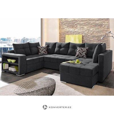 Juodoji kampinė sofa-lova (visa, dėžutėje)