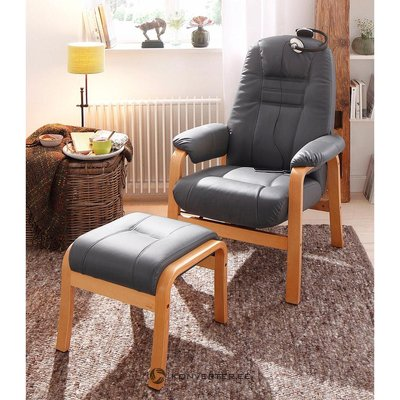 Pelēks ādas krēsls (vesels, kastē)