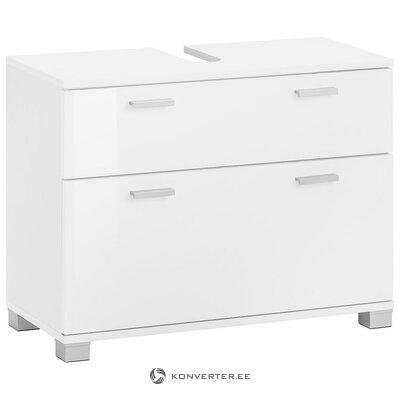 Balta praustuvo spintelė su 1 durele ir 1 stalčiumi (su grožio defektais. Halės pavyzdys)