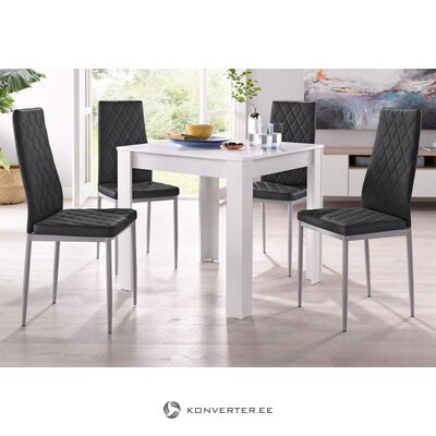 Set of white dining table (80x80) (lynn) + 4 black soft chairs (brooke)