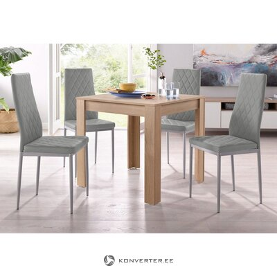 Set of small brown dining table (lynn) (80cm) + 4 gray leather chairs (brooke)