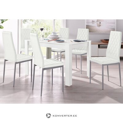 Set of white dining table (120x80) (lynn) + 4 white soft chairs (brooke)