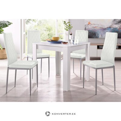 Set of white dining table (80x80) (lynn) + 4 white soft chairs (brooke)