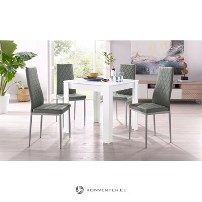Set of white dining table (80x80) (lynn) + 4 gray soft chairs (brooke)