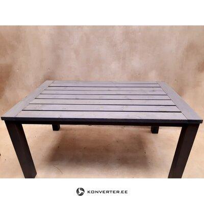 Pelēks liels masīvkoka dārza galds