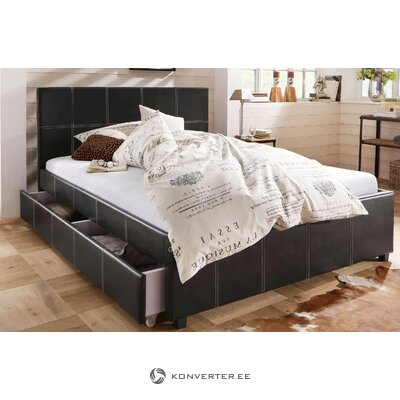 Black Leather Bed (90x200)