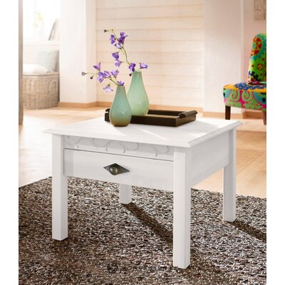 Valge täispuidust laud sahtliga