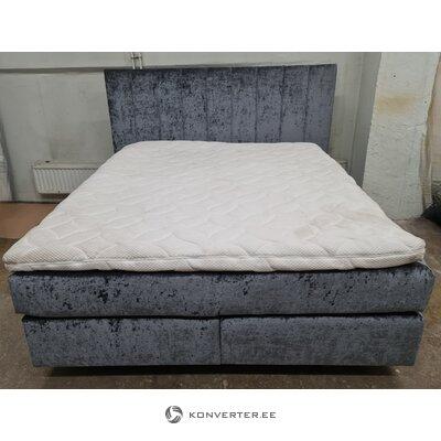 Серая бархатная пружинная кровать (Lacey) (цельная образец для зала)