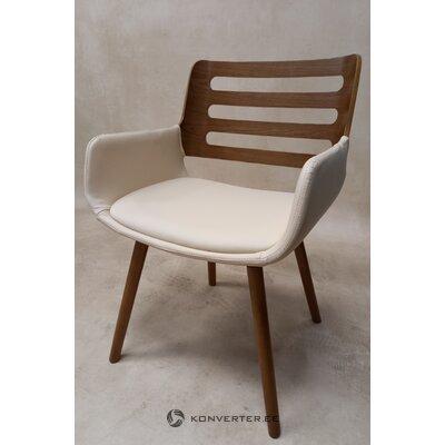 Бело-коричневое кожаное кресло (кингстон)