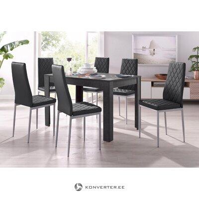 Set dark gray dining table (120x80) (lynn) + 4 black soft chairs (brooke)
