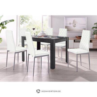 Set dark gray dining table (120x80) (lynn) + 4 white soft chairs (brooke)