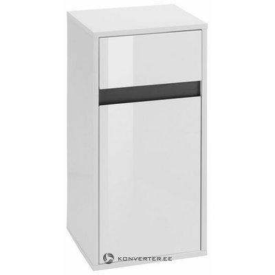 Valkoinen pieni kaappi, jossa 1 ovi ja 1 laatikko (korkeus 73cm) (soolo) (kokonainen, näytesali)
