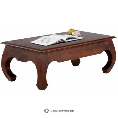 Dark brown small sofa table made of solid wood (stool) (whole, in box)