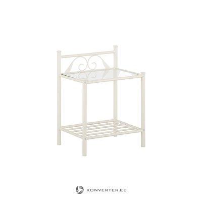 Bibi-yöpöytä hyllyllä / valkoisella metallilla