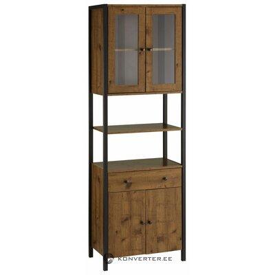 Aukšta tamsiai ruda spintelė su stiklinėmis durimis (chris)