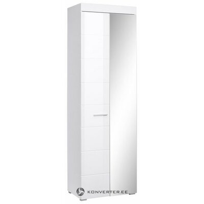 White high-gloss cabinet with mirror door and shelves (amanda) (hall sample, beauty defects)