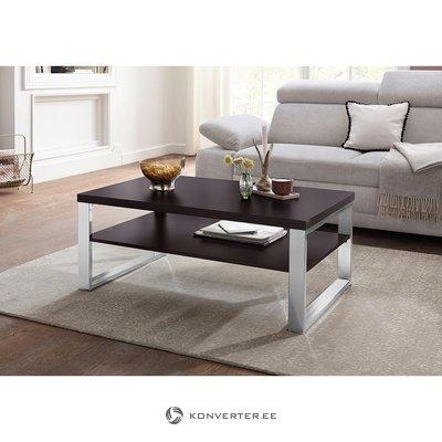 Tumši brūns kafijas galdiņš ar metāla rāmi (ar skaistuma defektiem)