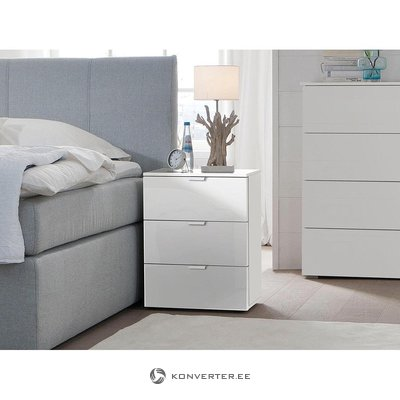 White nightstand (with bugs, box)