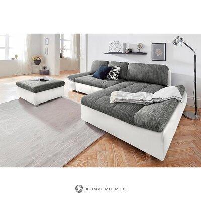 Бело-серый угловой диван (фабона) (недостатки красоты, образец зала)