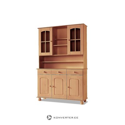 Light brown solid wood cabinet with glass doors