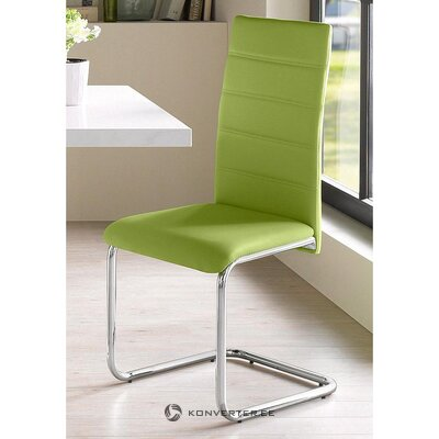 Green soft chair on metal legs (adora) (whole, hall sample)