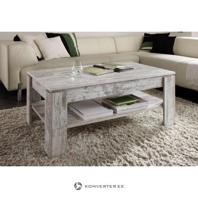 Antique white coffee table with shelf (beauty defects)